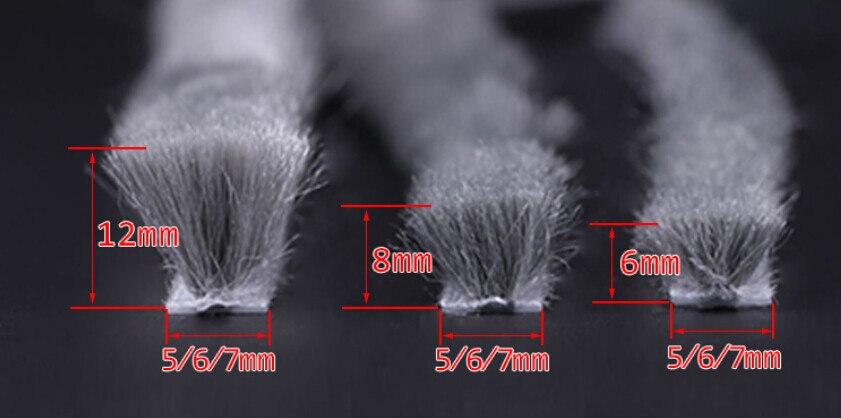 7mm X 8mm Aluminum Sliding Door Window Groove Nylon Pile Brush Seal Weatherstrip Dust Proof Strip