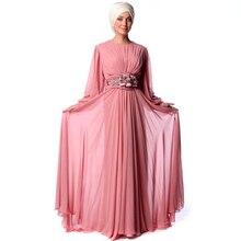 Pink Muslim Evening Dress Hijab Flower Crystal Chiffon Floor Length Turkish Islamic Formal Dress Vestido De Festa Longo