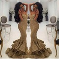 Vestido Senhorita Universo de Verão Pageant Vestidos Sereia de Ouro cortar Cristal Frisada Lace Tulle Prom Vestidos de Celebridades 2016