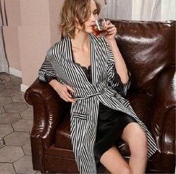 Silk Robe Gown Set Women Striped Summer 2019 Sexy Black Lace Patchwork 100%  Silk Stain Sleepwear Nightwear Homewear Home Cloth