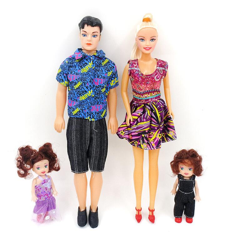 4Pcs/Set Dolls Family Removable Joints Ken Prince Baby Doll Happy Family Pack Boyfriend Toy Kawaii Playmate For Kids Gifts