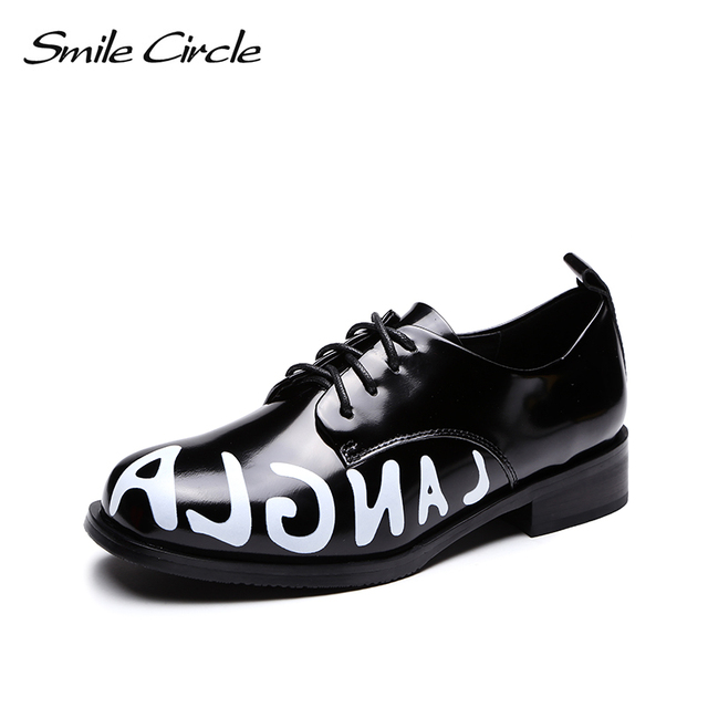 3d859dd96f3b smile circle Oxford Patent leather flats women for shoes casual platform  fashion Letter graffiti Round toe