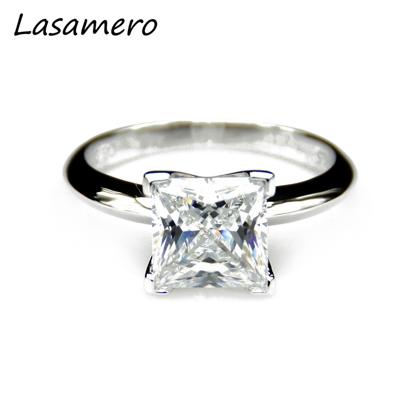 Test Positive Princess Cut 3CT Moissanites Simple Prong Set Solitaire Ring 14k White Gold Engagement Rings Fine Moissanites Ring