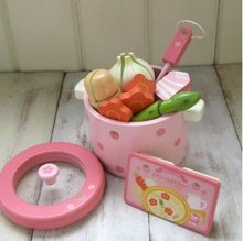 Candice guo wooden toy play house strawberry series vegetable hot pot pink kitchen birthday gift christmas present 1set
