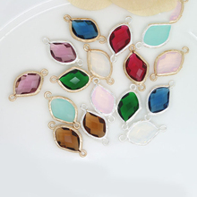 4PCS 24K Champagne Gold Color or Silver Brass with Irregular Colourful Glass Beads 2 holes Connect Charms Accessories
