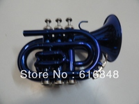 Factory Wholesale The Inventory With Bb Pocket Trumpet Looks Blue Big Horn 123mm