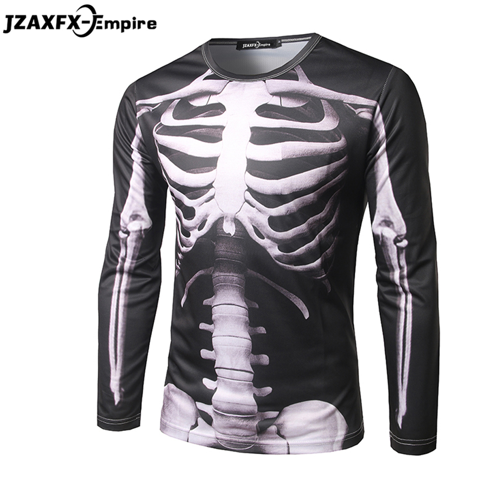 New Arrival Men 3D T-Shirt Long Sleeve O Neck Male Hip HOP Top Tees skeleton Pattern Clothing High Quality Brand Clothing