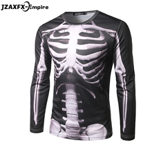 Men 3D T-Shirt Long Sleeve O Neck Male Casual Slim Top Tees skeleton Pattern Clothing High Quality Brand