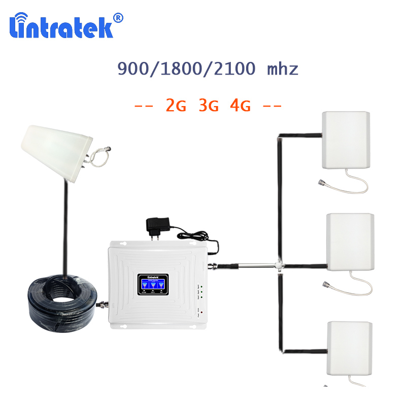 Lintratek 900/1800/2100 Signal Booster 1800Mhz 2g 3g 4g Cellphone Signal Amplifier With 3 Antennas Repetidor Gsm 4g Splitter S38