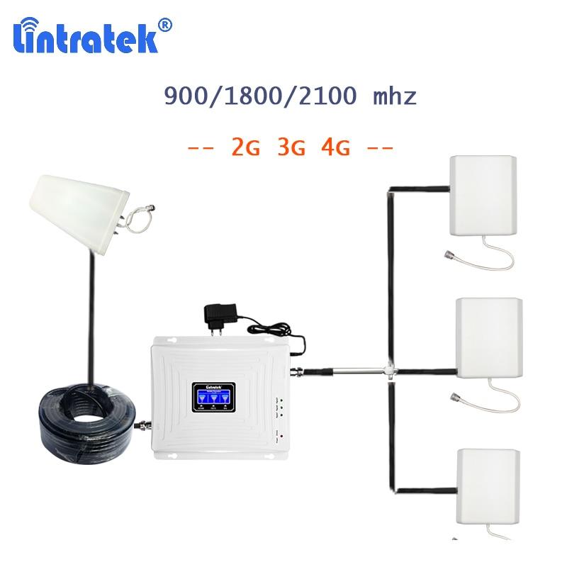 Lintratek 900/1800/2100 Signal Booster 2g 3g 4g Cellphone Celular Signal Amplifier With 3 Antennas Repetidor Gsm 4g Splitter S38