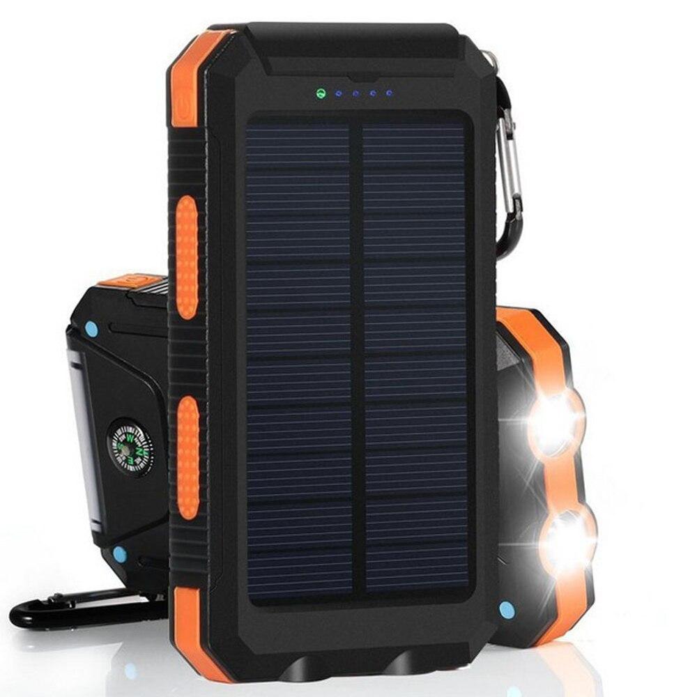 imágenes para Banco de la Energía Solar Banco de la Energía 10000 mAh Doble Puerto USB Impermeable Al Aire Libre con doble led light & compa cargador solar para iphone ipad