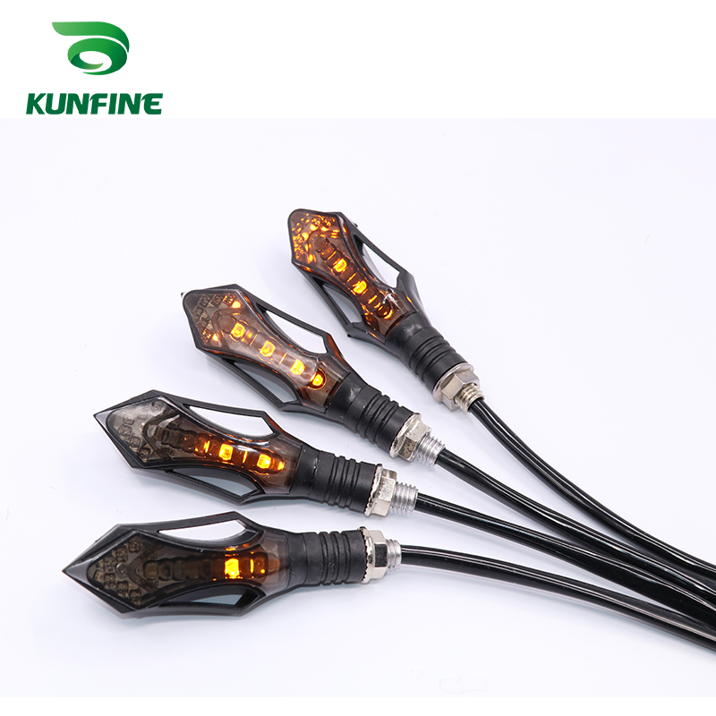 KUNFINE Universal flowing water flicker 12 led motorcycle turn signal Indicators Blinkers Flexible Bendable Amber light lamp image