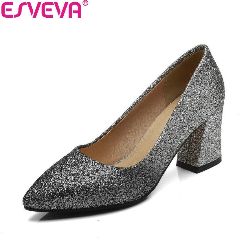 ESVEVA 2018 Women Pumps Elegant Mixed Color Square High Heels Slip on Pointed Toe Fashion Sequins Bling Women Shoes Size 34-43