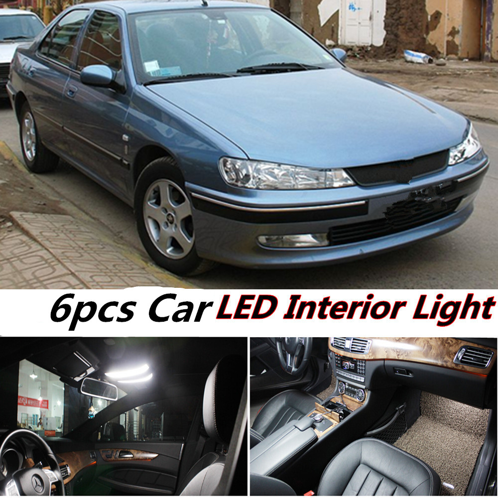 Tcart 6pcs Error Free Car LED Interior Lights Kit Reading Dome Door Lamps Auto Led Bulbs For Peugeot 406 Accessories 1996-2004