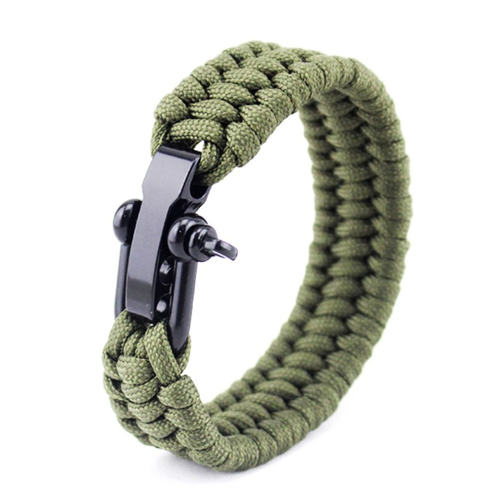 Unisex Outdoor Camping Tactical Survival Bracelet Paracord Wristband Emergency For Buckle