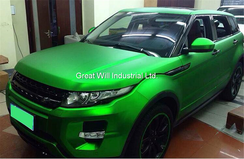 Green Satin Chrome Vinyl Wrap Film Green Matte Chrome Car Wrap Cover Styling With Air Bubble Free Famewill Size 1.52x20m/Roll