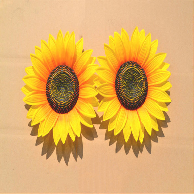 2 Artificial Yellow Sunflowers Silk Fake Flower Home Wedding Beauty Home Decoration Bridal Floral Bouquet New Fashion Decor