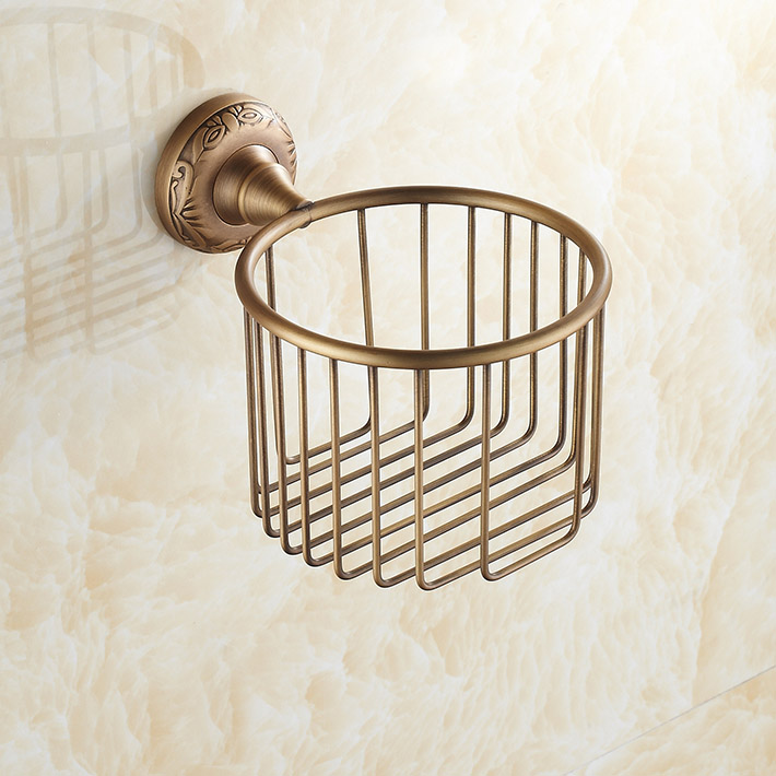 Classic Antique Bronze roll Toilet Paper Basket Holder brass ...