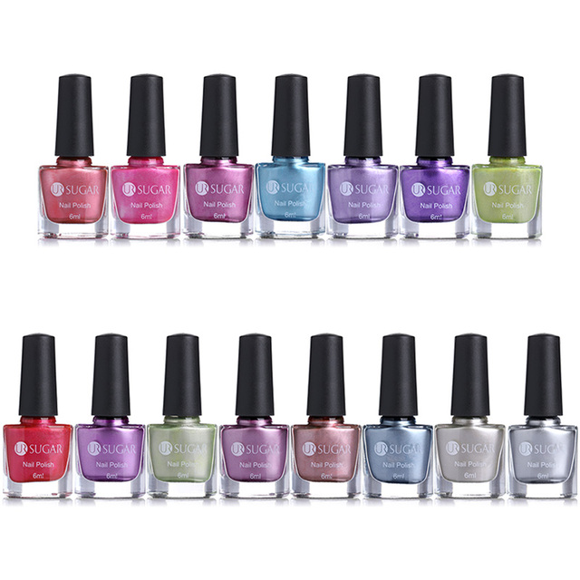 UR SUGAR 6ml Mirror Effect Metallic Nail Polish Metal Color Lacquer ...
