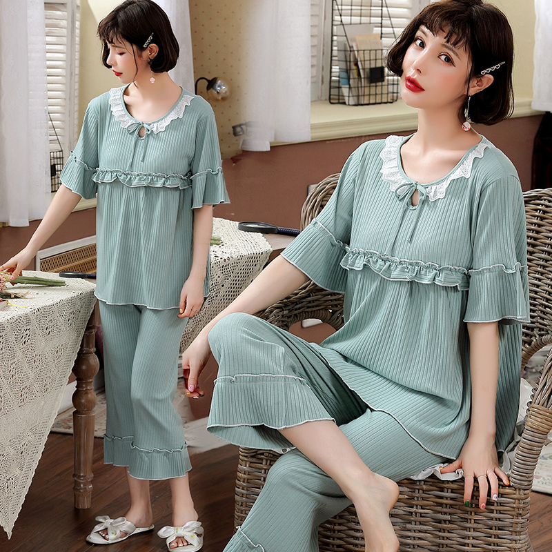 Sweet Thin Cotton Maternity Nursing Sleepwear Suits Summer Breastfeeding Pajamas for Pregnant Women Pregnancy Feeding NightwearSweet Thin Cotton Maternity Nursing Sleepwear Suits Summer Breastfeeding Pajamas for Pregnant Women Pregnancy Feeding Nightwear