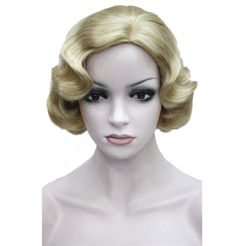 StrongBeauty Short Wavy Wigs Blonde Black Brown Red Synthetic Hair Women Cosplay Wig