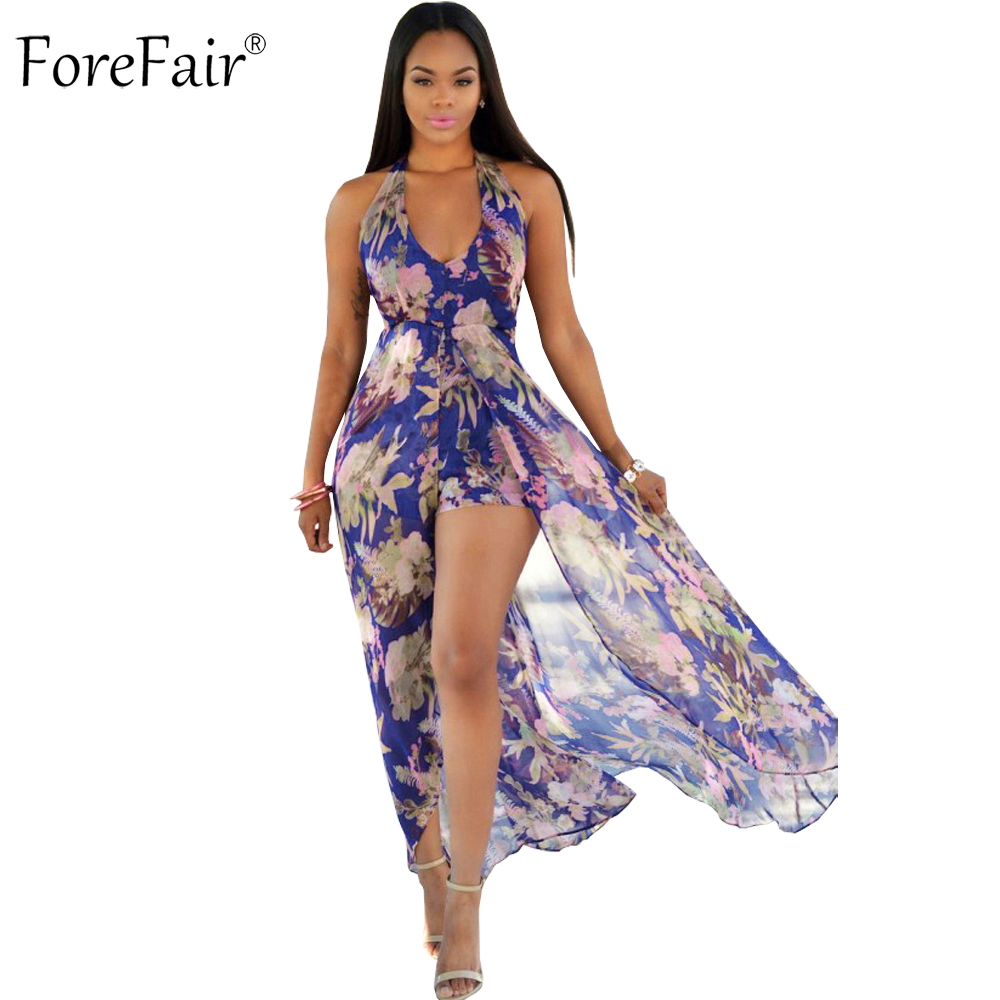 ForeFair S-3XL Chiffon Sexy V-neck Halter Maxi Rompers Womens Jumpsuit Plus Size Backless Casual Beach Boho Bodysuit