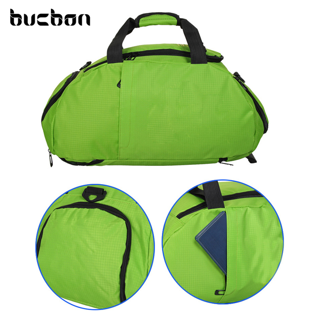 Bucbon Durable Nylon Shoes Storage Gym Bag Men Women Ball Sports Bag Fitness Training Portable Shoulder Backpack 3-Use HAB071