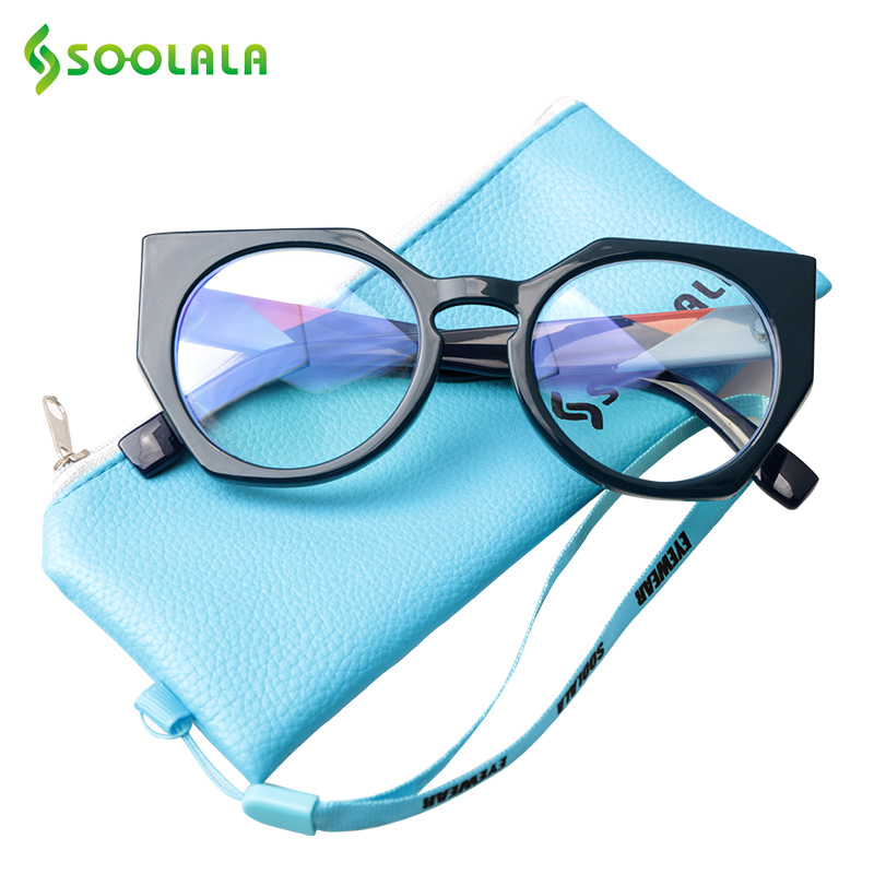 SOOLALA Irregular Anti Blue Light Blocking Glasses Men Women Cat Eye Sleeping Better Computer Gaming Protection Optical Glasses