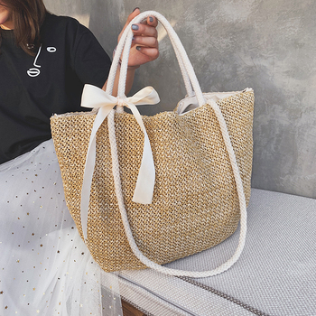 Fashion Rattan Woven Women Handbag Summer Beach Bag Large Capacity Tote Bag Handmade Knitted Straw Crossbody Bags for Women