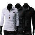 Fashion Men Polo Shirt Korea Slim Long Sleeve Autumn Tops Shirt  Epaulet Design Classic POLO Hip Hop Tees LB