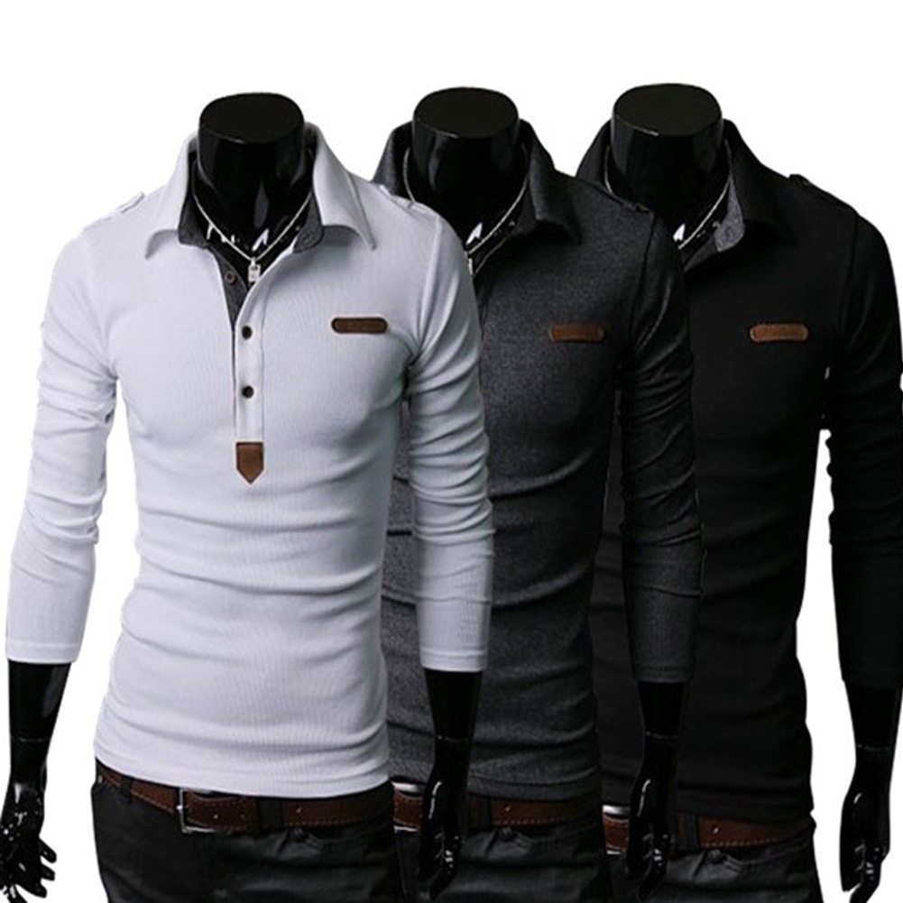Fashion Men   Polo   Shirt Korea Slim Long Sleeve Autumn Tops Shirt Epaulet Design Classic   POLO   Hip Hop Tees LB
