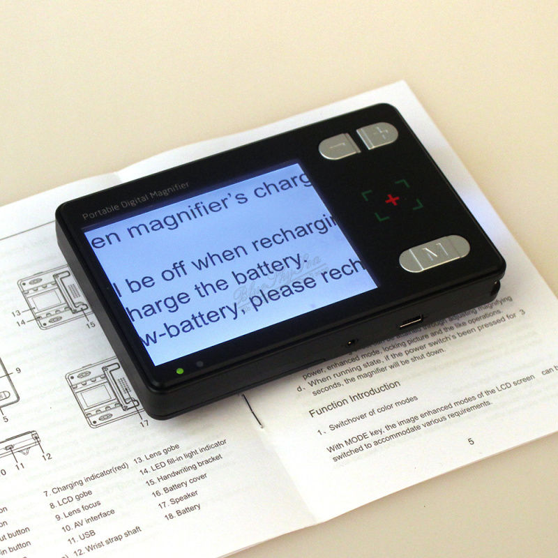 BOBLOV 2-24X 3,5 '' LCD padidinamojo stiklo ekranas, kurio šviesa per maža, Regėjimą palengvina elektroninis padidintuvas, vaizdo skaitymas, kišenės dydžio fotoaparato padidintuvas