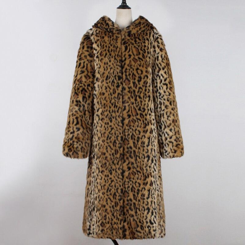 Capuchon Veste De Chaud Survêtement Long Épaissir Mode À Léopard Fourrure Coupe 2018 En Manteau vent Coat Leopard Luxe Femmes Hiver Fausse Chic WxHw0YqFz