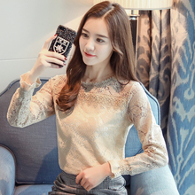 2018 new fashion long sleeves solid Lace women blouses Shirt  tops puff Sleeve O-NECK casual Lace women clothing blusas C900 30