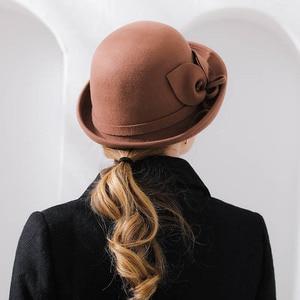 Image 5 - Fibonacci 2018 New Brand Quality Flanging Floral Wool Felt Fedoras Womens Autumn Winter Hats Dome Elegant Banquet Fedora Hat