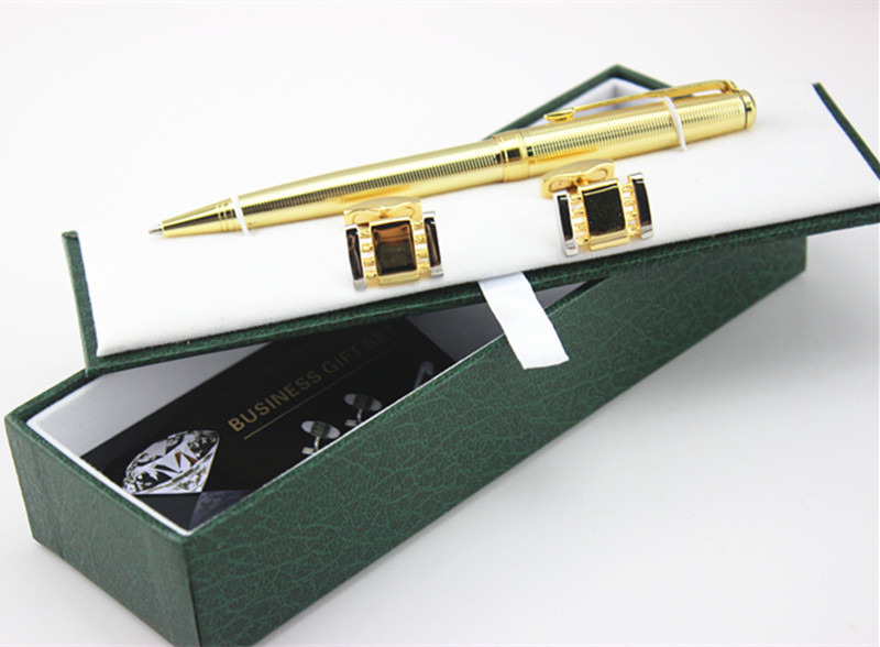 High Quality Golden Ballpoint Pen Cufflinks Set Luxury Gift Box Executive Office  Supplies Writing Pen +pen Case In Ballpoint Pens From Office U0026 School ...