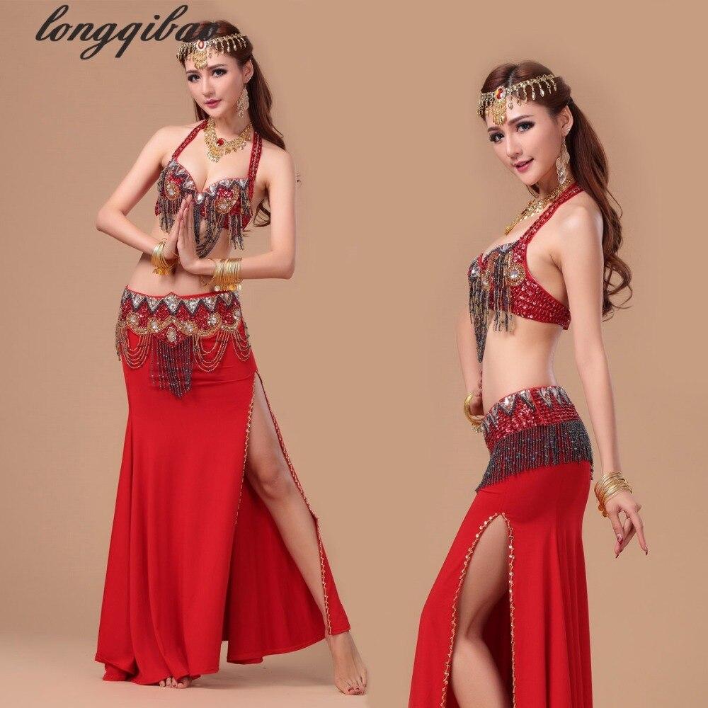 Nouveau soutien-gorge de danse du ventre ensemble de perles de verre Yamagami broderie danse indienne Costumes de haute Performance (soutien-gorge/ceinture/jupe) TB7525