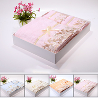 Wedding Bath Towel Gift Box Set Towels Bathroom Cotton Lace 3 Pieces Serviette Bain Handdoeken Women