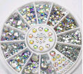 2015 Hot 5 Sizes White Multicolor Acrylic Nail Art Decoration Glitter Rhinestones