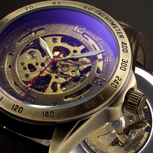 Mechanical Automatic Skeleton Watches Men Steampunk Wrist Watch Power Self Widing Bronze Antique Leather Clock Mens Wristwatches