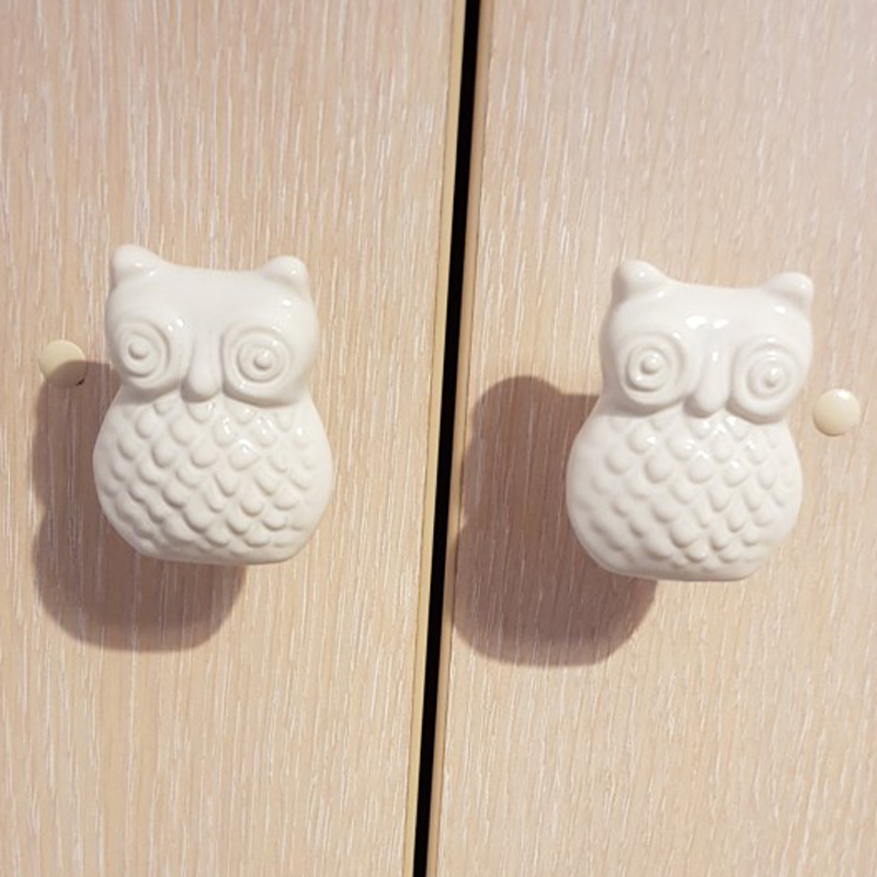 6PCS Vintage Cartoon Owl Ceramic Door Knob Cabinet Drawer Cupboard Pull Handle Wardrobe Furniture Locker Handware White