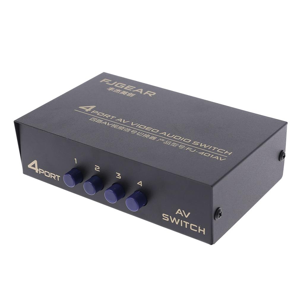 4 Port AV Audio Video RCA 4 Input 1 Output Switcher Switch Selector Splitter Box Drop Shipping Support