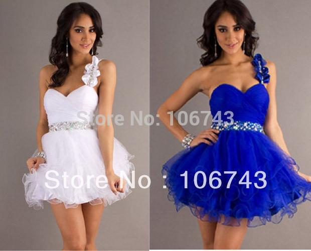 Livraison gratuite célébrité bandage robes xs blanc 2013 nouveau vendeur chaud cristal sexy courte une épaule bal robe de reconstitution historique robes