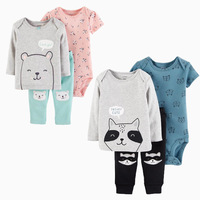 3pcs babysoft cotton stripes raccoon print clothing Set Carter's baby boy spring autumn clothing