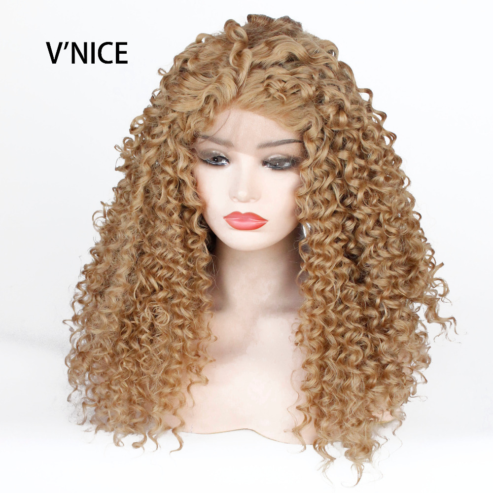 VNICE Golden Honey Blonde Kinky Curly Glueless Synthetic Lace Front Wig Long Hair Curly  ...