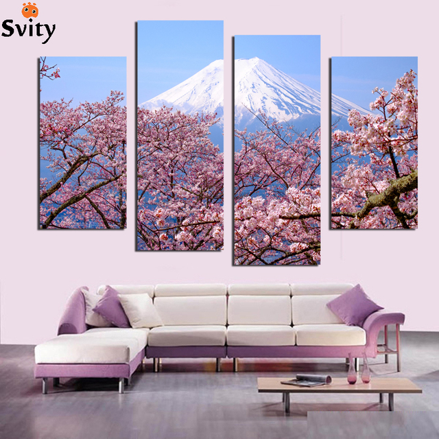 HD Canvas Print Home Decor Wall Art Painting Picture Flowers Snow     HD Canvas Print Home Decor Wall Art Painting Picture Flowers Snow mountain  scenery Canvas Wall Paintings