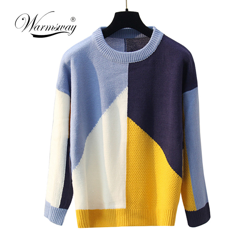 Warmsway Casual Women Sweater 2020 Patchwork Contrast Color Female Pullovers Sweaters C-268