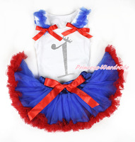 Bebê branco pettitop, $Number faísca de cristal bling, Royalblue Ruffles Red Bows com azul Royal Red Newborn Pettiskirt MANN96