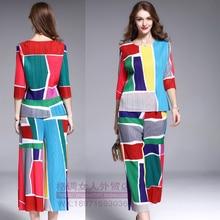 Fold color vertical stripes blouse seven wide leg pants waist trousers leisure suit free shipping