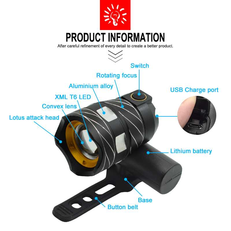WasaFire Adjustable USB Bicycle Light 15000LM XM-L T6 LED Bike Light Head Lamp Torch With USB Rechargeable Built-in Battery Gift